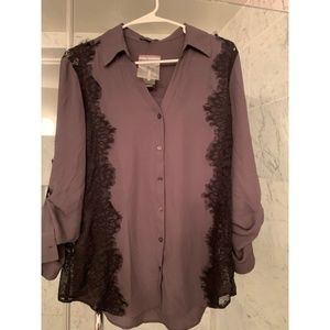 Dary Grey + Black Button Up Blouse w/ Lace Detail